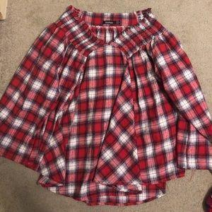Boohoo off-shoulder flannel blouse